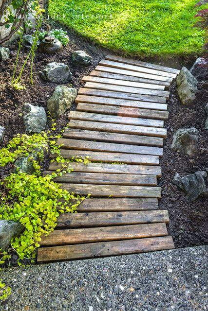 Garden Walkway Ideas 30 green design ideas for beautiful wooden garden paths Easy Walkway Idea