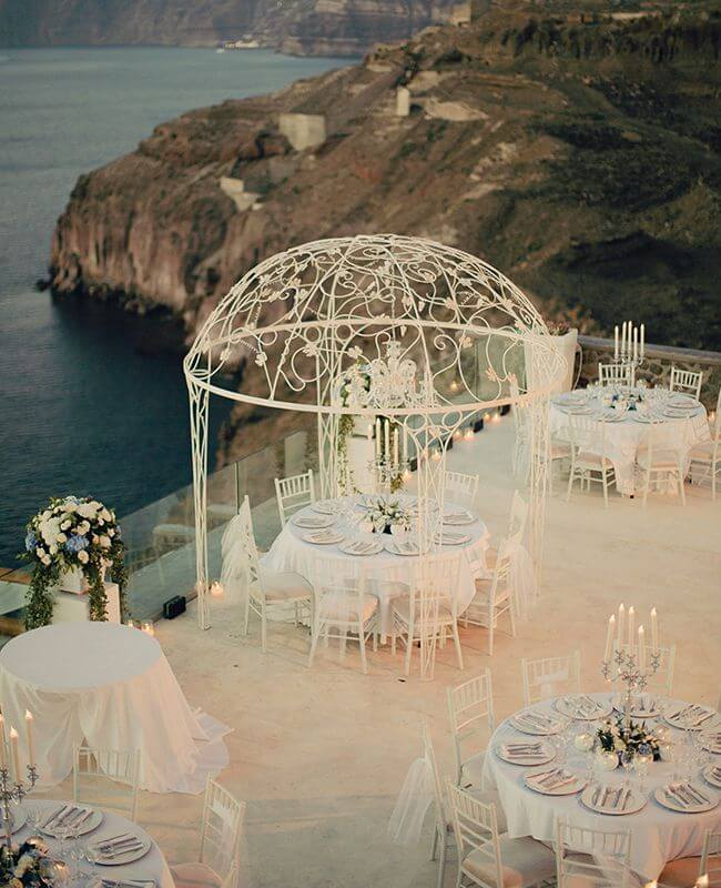 Wedding Beach Destinations: This is A Cavo Ventus Luxury Villa in Santorini, Greece. Check out more romantic beach wedding destinations on Worthminer.com