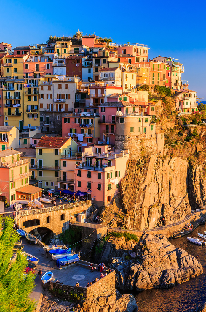 Cinque Terre, Italy - Riomaggiore colorful fishermen village by the Mediterranean sea